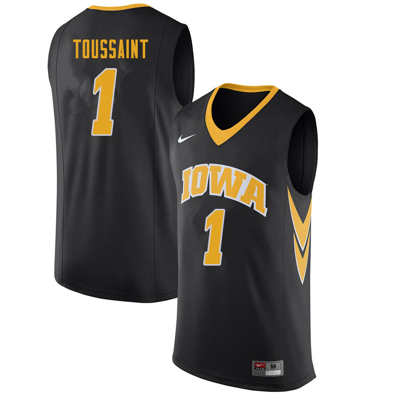 Men #1 Joe Toussaint Iowa Hawkeyes College Basketball Jerseys Sale-Black