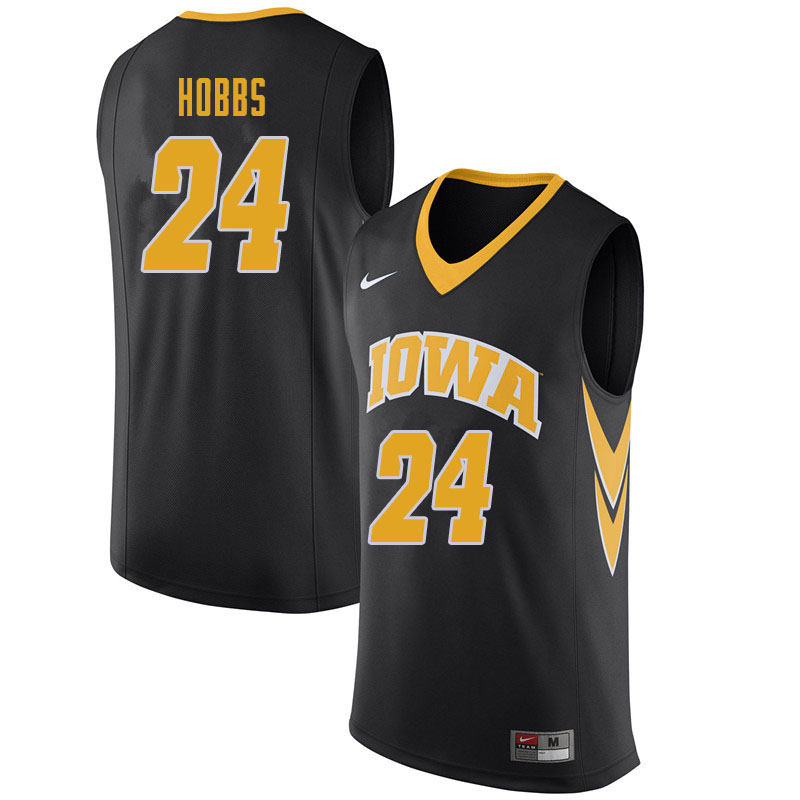 Men #24 Nicolas Hobbs Iowa Hawkeyes College Basketball Jerseys Sale-Black
