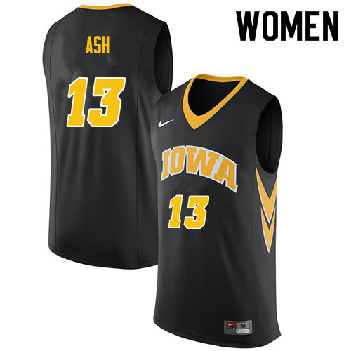 Women #13 Austin Ash Iowa Hawkeyes College Basketball Jerseys Sale-Black
