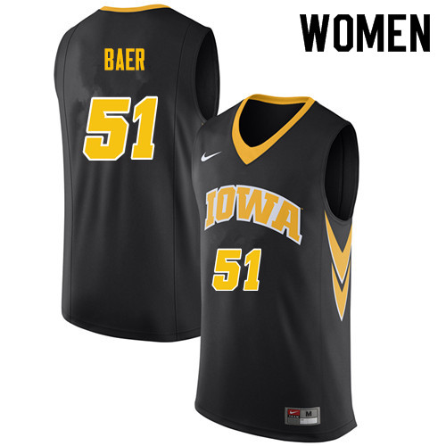 Women #51 Nicholas Baer Iowa Hawkeyes College Basketball Jerseys Sale-Black