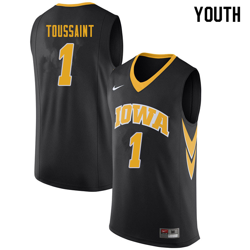 Youth #1 Joe Toussaint Iowa Hawkeyes College Basketball Jerseys Sale-Black