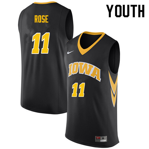 Youth #11 Charlie Rose Iowa Hawkeyes College Basketball Jerseys Sale-Black